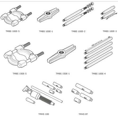 Bearing Puller Diagram : Hydraulic puller kit skf tmbs e