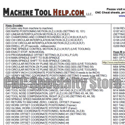 Haas G and M Code Reference Sheet Listing - CNC Specialty Store Haas Tool Setter Wiring Diagram on